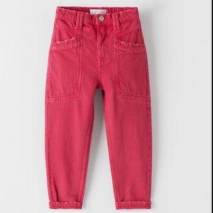 NWT Zara Girls Mom Fit Distressed Jeans